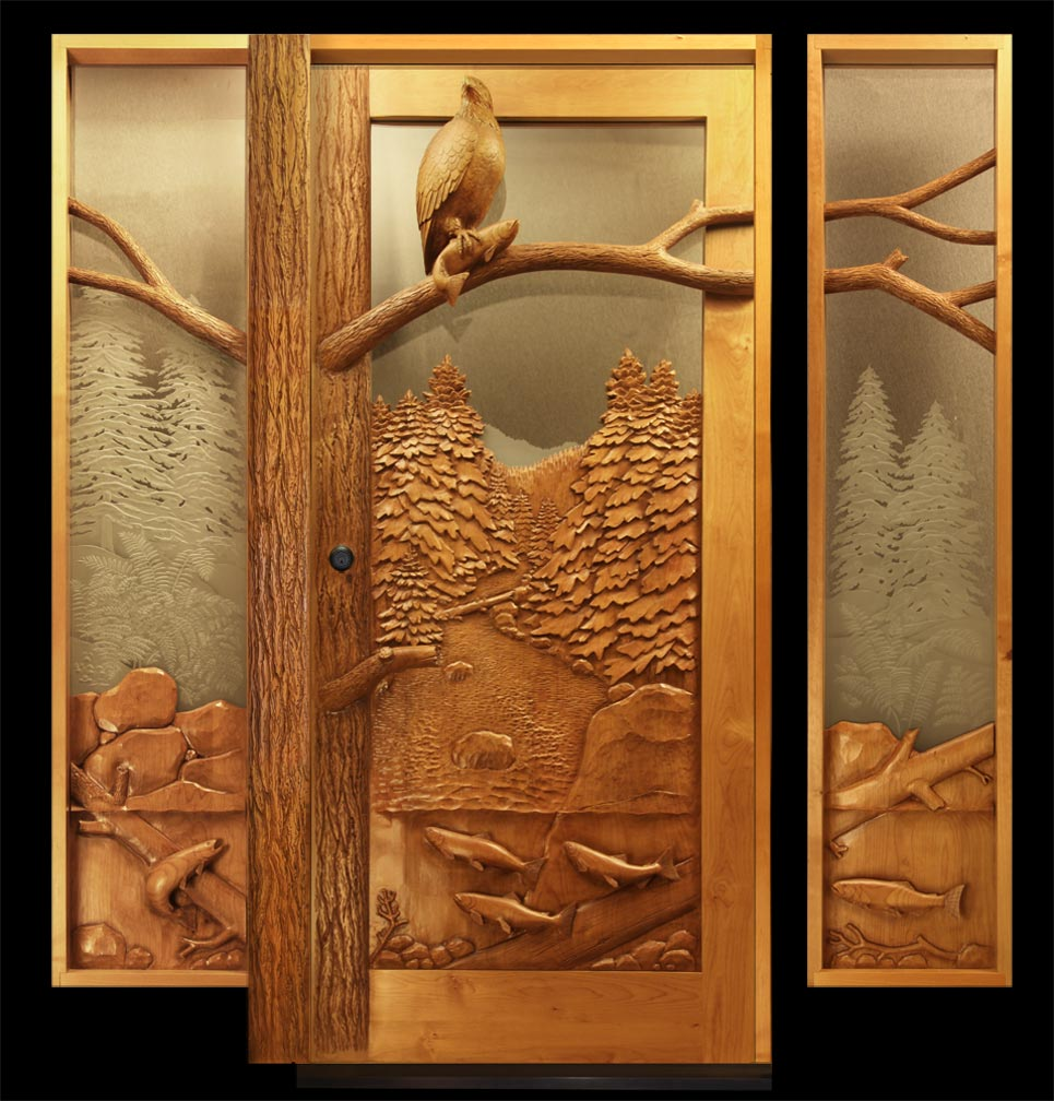 salmon eagle wooden entry door  sc 1 st  Carved by Ramsey & Eagle Salmon Carved Door