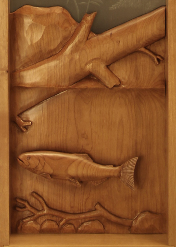 Eagle salmon carved door